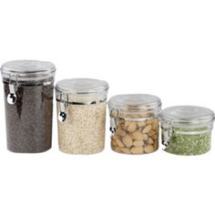 Home Basics 4-piece Airtight Clamp Lock Canister Set