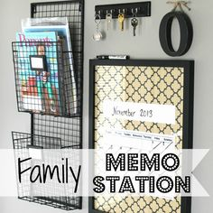 Last year I shared our family memo station  where we keep all of our incoming and outgoing mail, keys, and a dry erase calendar. It's loc...