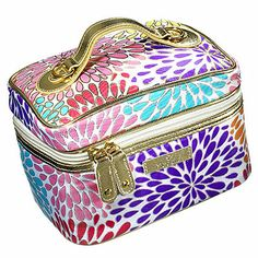 Best cosmetics bag   Along with a loofah and two empty mini bottles, this roomy container features a lining you can wipe clean and a fold-back top, making it easy to sift through your toiletries and makeup.    Modella Morning Glory fitted mini train case, $10; at Walmart.