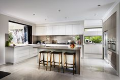 Nine Kitchen Dale Alcock KItchen with scullery - love the bifold window so that bench can be used for serving at a party