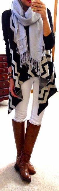 Oversized cardi, scarf, and skinnies | Flourish boutique chevron cardi