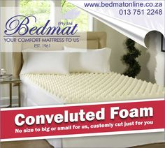 Custome cut to size convoluted foam -Lighter than a solid piece of foam. -Adds support and comfort. -Recommended by health professionals to prevent bedsores in patients. -Antimicrobial and hypoallergenic.  Visit our website for more information. #bedmat #convolutedfoam #backsupport
