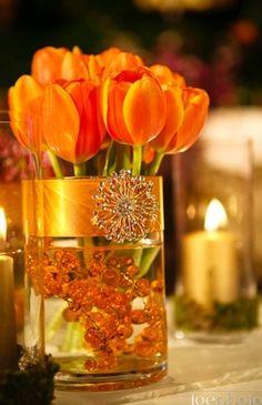 Cylinder vase centerpiece, dutch tulip, orange reception wedding flowers,  wedding decor, wedding flower centerpiece, wedding flower arrangement, add pic source on comment and we will update it. www.myfloweraffair.com can create this beautiful wedding flower look.