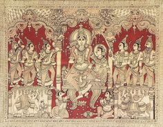 Ram Darbar - Kalamkari Folk Art Painting from Andhra Pradesh , India Ancient Indian Art, Indian Folk Art, Madhubani Art, Madhubani Painting, Krishna Painting, Mughal Paintings, Indian Art Paintings, Kalamkari Painting, Silk Painting