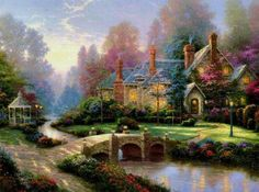 Thomas Kincade's Artistic & Beautifully Painted Scenery -- would have no problem with this as my home!