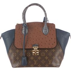 Pre-owned Louis Vuitton Majestueux Tote PM ($4,400) ❤ liked on Polyvore featuring bags, handbags, tote bags, purses, borse, leather man bags, leather zip tote, brown leather purse, zippered tote bag and leather tote handbags