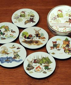Animal Adventure Coaster Set by Common Rebels #zulily! ... Protect a table in a hip and stylish way with this modern coaster set. The hand-drawn artwork will add a touch of décor to any living room or kitchen and start plenty of conversations. Toss them in the convenient tin for easy storage.    •Includes six coasters and tin •Coaster: 3.5'' diameter •Tin: 4'' diameter •Polyester / rubber •Made in the USA * $15/$25