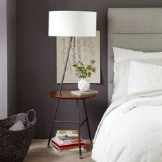NEW! Mid-century multi-tasker. Inspired by classic 1950s and '60s style, our Duo Side Table Floor Lamp is a sturdy, two-in-one piece finished in a rich walnut veneer. Tucked near sofas and armchairs, it's the perfect small-space solution to curl up next to with your favorite book and a cup of tea.