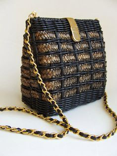 Vintage Plastic Woven Wicker Purse Handbag. 20% OFF Coupon Code. by MilaTreasures on Etsy https://www.etsy.com/listing/109933975/vintage-plastic-woven-wicker-purse