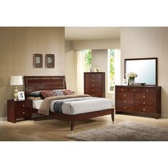 5 pc Ilana Collection brown cherry finish wood queen platform bed