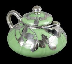 Holy cow this is gorgeous! Rare Antique Shreve & Co Silver Overlay Oriental? Porcelain Teapot C.1905