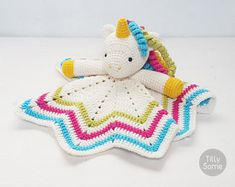 Sweet Unicorn Lovey Pattern | Security Blanket | Crochet Lovey | Baby Lovey Toy | Blanket Toy | Lovey Blanket PDF Crochet Pattern