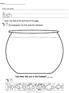 Freebie! Your students will enjoy learning with these fun printables! Each sheet has a word theme and utilizes the following skills: Reading, writing, coloring, cutting, pasting, and counting!