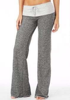 STRETCH low rise french terry pant with faux drawstring foldover waist.