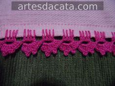 Résultat d'images pour crochet edgings Chunky Crochet, Love Crochet, Filet Crochet, Crochet Lace, Crochet Borders, Crochet Stitches, Crochet Designs, Crochet Patterns, Saree Kuchu Designs