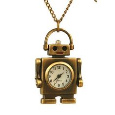 Hot Sale Practical Retro Bronze Metal Clock Robot Keyring Chain With Clock 1.8 New Good Reputation Over The World Watches