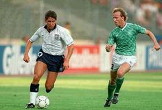England 1 West Germany 1 (3-4 pens) in 1990 in Turin. Gary Lineker is tracked by Andreas Brehme in the World Cup Semi Final.