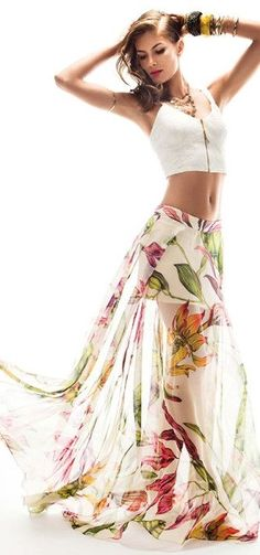 Fashion trends | Floral maxi skirt and crop top - SO BEAUTIFUL & FEMININE!! - JUST GORGEOUS!!