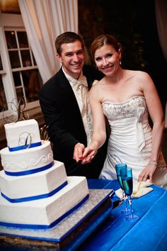 Wedding, Reception, Cake, White, Blue, Dress, Black, Silver - Project Wedding