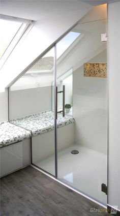 Shower door made of glass for the niche made to measure for you. Your shower door Spitzboden Attic Shower, Small Attic Bathroom, Attic Master Bedroom, Attic Bedroom Designs, Loft Bathroom, Upstairs Bathrooms, Attic Rooms, Attic Spaces, Bathroom Doors