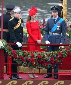 Harry, Kate & William - Alexander McQueen Red Dress Diamond Jubilee 3 June 2012