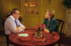 Photograph of First Lady Hillary Rodham Clinton Taping a Larry King Weekend Show. 9/30/1993