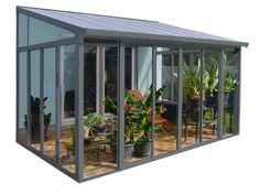 Palram Wintergarten San Remo (L x B x T: x 3 m x m, Anthrazitgrau) Metal Pergola, Pergola Shade, Diy Pergola, Pergola Kits, Cheap Pergola, Bbq Gazebo, Gazebo Ideas, Metal Roof, Extension Veranda