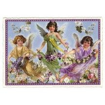 Large Purple Violets Flower Fairies Postcard ~ Germany