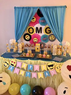 Nadia L's Birthday / Emoji - Photo Gallery at Catch My Party Emoji Birthday Shirt, Birthday Shirts, Birthday Stuff, 15th Birthday, Birthday Parties, Emoji Photo, Party Props, Party Ideas, Blacklight Party