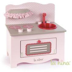 Cuisine en bois rose pour poupée : Petit modèle La Nina - Magasin de Jouets pour Enfants