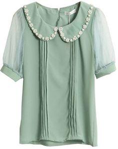 Pearl Embellished Sweet Green Shirt