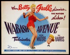 WABASH AVENUE - Betty Grable - Victor Mature - Phil Harris - Directed by Henry Koster - 20th Century-Fox - Movie Poster.