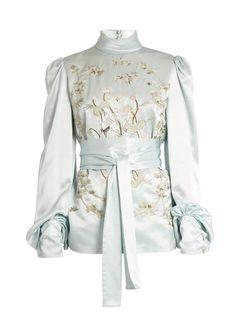 Hillier Bartley Bird-embroidered silk-satin blouse