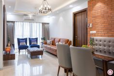 at Adani Western Heights with Kid-friendly Features Interior Styling, Interior Decorating, Interior Design, Room Interior, Interior Ideas, Living Area, Living Room Decor, Living Spaces, Bedside Pendant Lights