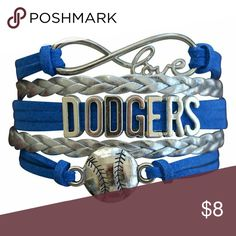 Los Angeles Dodgers Bracelet, Dodgers Jewelry Los Angeles Dodgers Jewelry- Los Angeles Dodgers Bracelet - Charm Baseball Jewelry  WHO LOVES BASEBALL?! Show your team spirit for the Los Angeles Dodgers with this handmade sports bracelet. This listing is for one Los Angeles Dodgers charm bracelet. 6 inches in length with an additional 2 inch extension. Absolutely adorable, you'll be in a hurry to show it off to your friends and family!  Perfect Gift for Dodgers Baseball Fans!! Jewelry…
