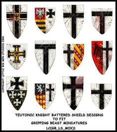 shield designs that would have been used by the Teutonic Knights: