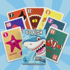 GlobalDream Go Fish Card Game for Kids - Go Fish and Old Maid - Colorful Design - Great for Children Ages Fish Card, Card Games For Kids, Playing Card Games, Good Old Times, Going Fishing, Quality Time, Maid, Board Games, Colorful