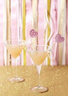 pink + gold martini