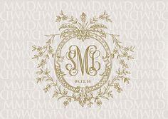Floral Vines Wreath Wedding Monogram - Wedding Logo - Wedding Crest