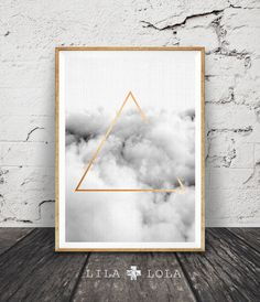 Minimalist Geometric Wall Art, Cloud Print, Gold Triangle, Graphic Design, Printable Poster, Digital Instant Download, Black and White
