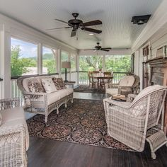Country Screened Porch With Lovely Wicker Furniture