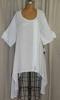 a2f00d393c6 OH MY GAUZE Cotton Lagenlook DARYL Asym Curved Hem Tunic Top OSFM Gauze  Clothing