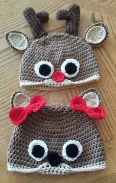 Cute crochet deer beanies I finished up last night ;)