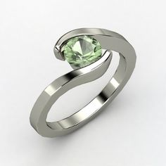 Round Green Amethyst Palladium Ring - Ocean Ring | Gemvara