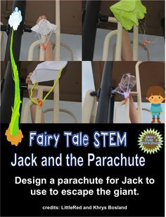 Fairy Tale STEM: Jack and the Parachute…simple instructions and lots of pictures! From More Than a WorksheetFree Fairy Tale STEM: Jack and the Parachute…simple instructions and lots of pictures! From More Than a Worksheet Fairy Tale Activities, Steam Activities, Stem Science, Science Centers, Science Week, Science Books, Physical Science, Science Fair, Earth Science