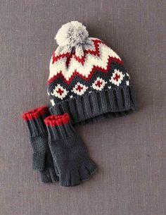 Knitted Hat & Gloves Set