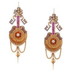 Etruscan Revival Ruby Diamond Gold Pendant Earrings