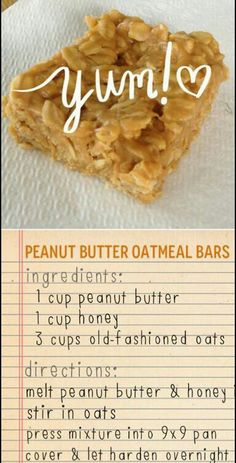 Peanut butter oatmeal bars - 3 ingredients Peanut butter, oats and honey bars KeepRecipes Your Universal Recipe Box Healthy Desserts, Delicious Desserts, Yummy Food, Healthy Recipes, Simple Healthy Snacks, Party Desserts, Healthy Baking, Healthy Food, Oats Recipes