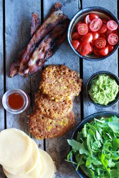 Avocado and Gouda BLT Corn Fritter Stacks with Chipotle Bourbon ...