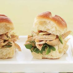 Indian Pulled-Chicken Sandwiches | This recipe relies on two time-saving, store-bought ingredients: rotisserie chicken and mango chutney, which adds a hit of instant flavor to the curry-yogurt sauce.